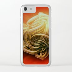 fractal decor meets red Clear iPhone Case