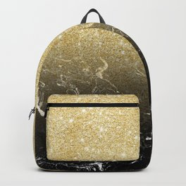 Modern girly luxurious faux gold glitter black marble pattern Backpack