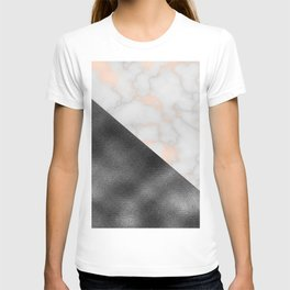 Rose gold marble and gunmetal grey storm T-shirt