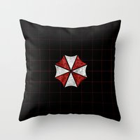 resident evil Throw Pillows featuring Resident Evil Umbrella Corporation  by DavinciArt