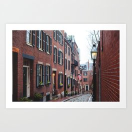 Acorn Street in Boston Art Print