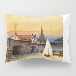 Vintage watercolour Norwich Bishop bridge Pillow Sham