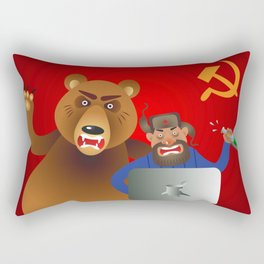 Russian hacker with laptop, vodka and own pet bear on USSR flag background Rectangular Pillow