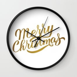 Merry Christmas gold glitter lettering  Wall Clock