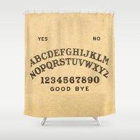 ouija Shower Curtains featuring Ouija Board by Janismarika