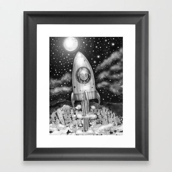 Running Away From Home In A Rocket Ship Framed Art Print