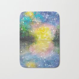Crescent Moon Reflection Galaxy watercolor by CheyAnne Sexton Bath Mat