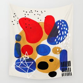Fun Mid Century Modern Abstract Minimalist Vintage Primary Colors Blue Red Yellow Bubbles Wall Tapestry