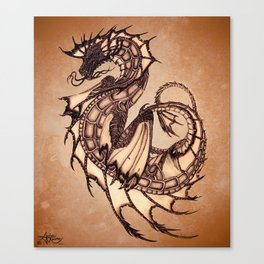 """Tsunami"" by Amber Marine ~ Sea Dragon (Amber Gem Version) ~ Graphite Illustration, (Copyright 2005) Canvas Print"