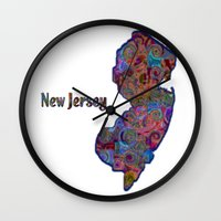 new jersey Wall Clocks featuring New Jersey by gretzky