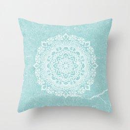 Mandala on concrete - teal Throw Pillow