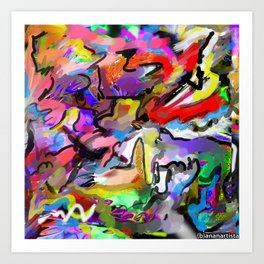 Hormonal storms (abstract painting) Art Print