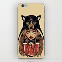 red hood iPhone & iPod Skins featuring Red Riding Hood by Giulio Rossi