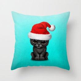 Christmas Black Panther Wearing a Santa Hat Throw Pillow