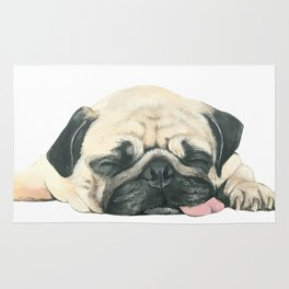 Nap Pug, Dog illustration original painting print Rug