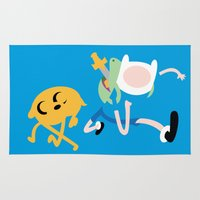 finn and jake Area & Throw Rugs featuring Jake the dog and Finn the human by OverClocked
