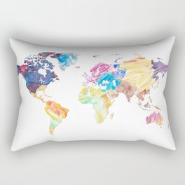 Abstract Colorful World Map Painting Rectangular Pillow
