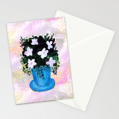 Blue Vase with Foliage and White Flowers Stationery Cards