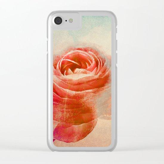 Vintage Ranunculus(3). Clear iPhone Case