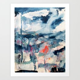 Before the Storm - an abstract acrylic and ink piece in blues, white, pink, and red Art Print