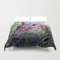 oasis Duvet Covers featuring Oasis Giraffe by World Raven