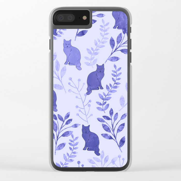 Watercolor Floral and Cat VII Clear iPhone Case