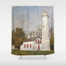 Sturgeon Lighthouse Textured Shower Curtain