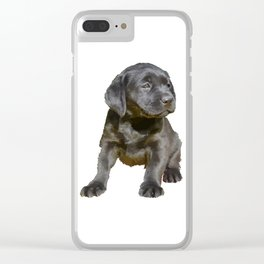 Adorable and Cute Black Labrador Puppy Vector Clear iPhone Case