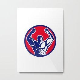 Body Builder Flexing Muscles Circle Retro Metal Print