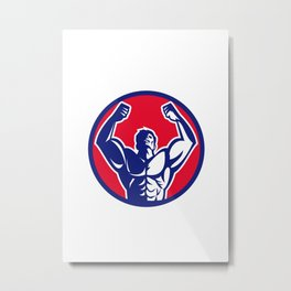 Body Builder Flexing Muscles Circle Retro Metal Print