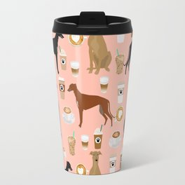 Greyhound coffee dog breed illustration dog art custom dog breeds groundhound rescue dog lovers Travel Mug