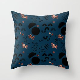 Floral Moonscape Throw Pillow
