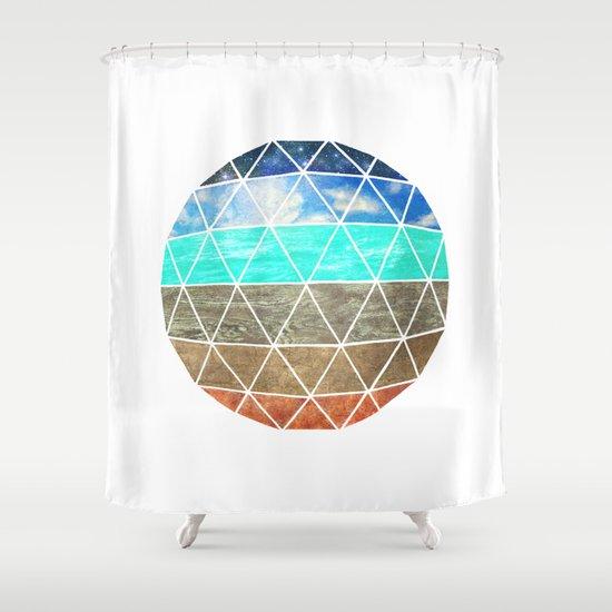 Elemental Geodesic  Shower Curtain