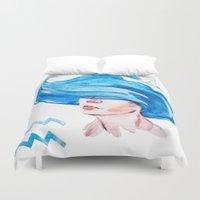 aquarius Duvet Covers featuring Aquarius by Aloke Design