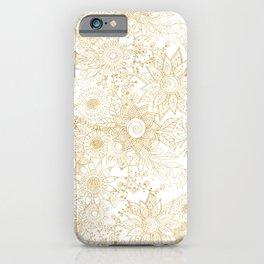 Elegant golden floral doodles design iPhone Case