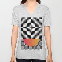 Monochrome Geometric Pattern Clash Abstract Ombre Half Circle Unisex V-Neck