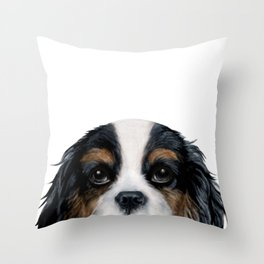 Cavalier King Charles Spaniel tri colored by miart Throw Pillow