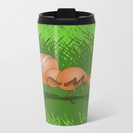 Ant smiling in tall green grass Travel Mug