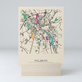 Colorful City Maps: Salzburg, Austria Mini Art Print