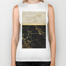 Gold and Marble Stripes 2 Biker Tank