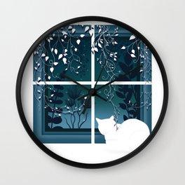 White Kitty Cat Window Watcher Wall Clock