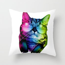 Cool Rainbow Cat with sunglasses and headphones Throw Pillow