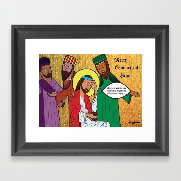 satirical christmas framed art print