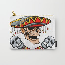 Skull Mexican style with sombrero and maracas Carry-All Pouch
