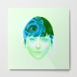 Roses - Blue on Green Metal Print