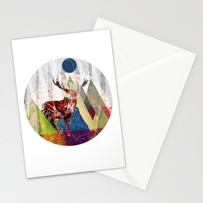 Wonder Wood Dream Mountains - Red Deer Dream Illusion 2 Stationery Cards