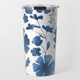 Blue Watercolour Floral Pattern Travel Mug