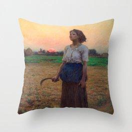 Jules Breton - Song of the Lark Throw Pillow
