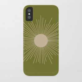 Mid-Century Modern Sunburst II - Minimalist Sun in Mid Mod Beige and Olive Green iPhone Case