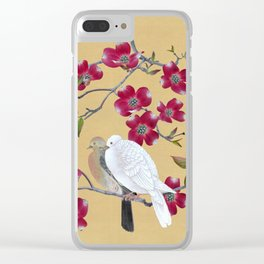 Doves in Red Dogwood Tree Clear iPhone Case